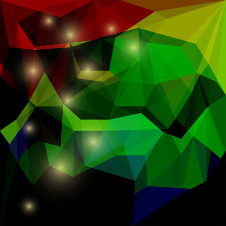 Abstract bright dark red, green and yellow colored polygonal triangular background with glaring lights for use in design for card, invitation, poster, banner, placard or billboard cover