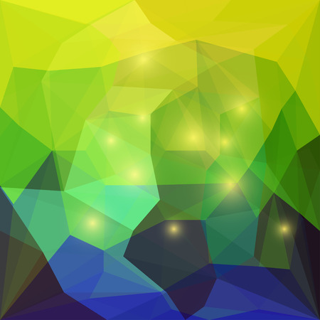 chipping: Abstract bright yellow and blue colored polygonal triangular background with glaring lights for use in design for card, invitation, poster, banner, placard or billboard cover
