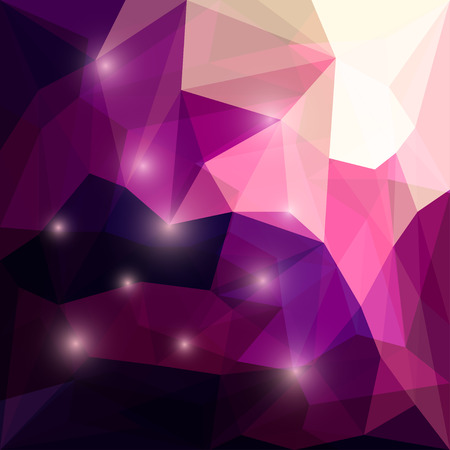 Abstract bright deep purple colored polygonal triangular background with glaring lights for use in design for card, invitation, poster, banner, placard or billboard cover