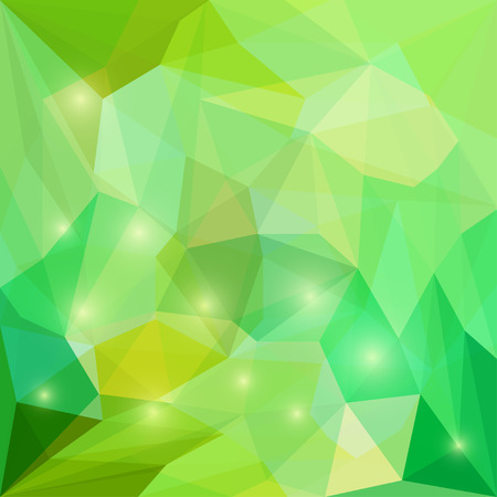 Abstract bright spring fresh green colored polygonal triangular background with glaring lights for use in design for card, invitation, poster, banner, placard or billboard cover Illustration