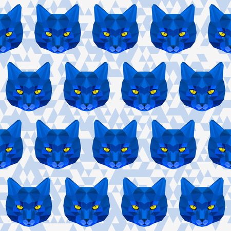 noiseless: Abstract bright blue colored polygonal geometric triangle cat seamless pattern background for use in design