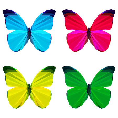 bright colored geometric polygonal abstract butterfly set isolated on white background for use in design for card, invitation, poster, banner, placard or billboard cover