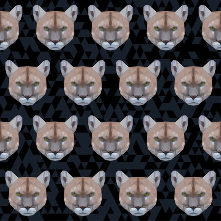 noiseless: Abstract polygonal geometric triangle puma seamless pattern background for use in design Illustration