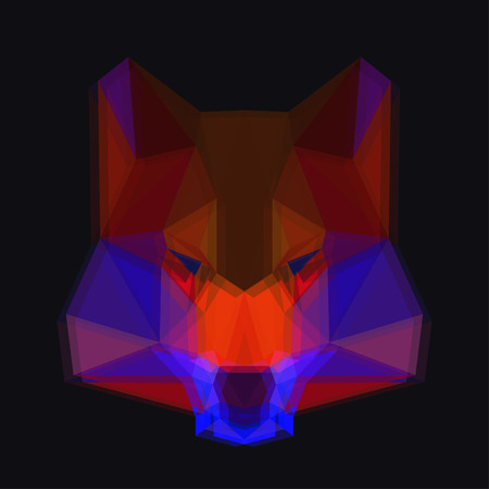 relentless: Bright colored abstract polygonal wolf with 3D effect background for use in design for card, invitation, poster, banner, placard or billboard cover