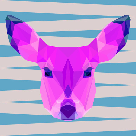 timid: bright colored abstract geometric polygonal triangle deer vector background for use in design for card, invitation, poster, banner, placard or billboard cover
