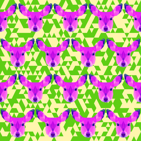 timorous: abstract triangle geometric polygonal deer seamless pattern background