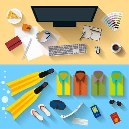 bright color illustration in trendy flat style with long shadows with sets of objects that modern people use in everyday life and during rest for use in design card, poster, banner, placard, billboard Illustration