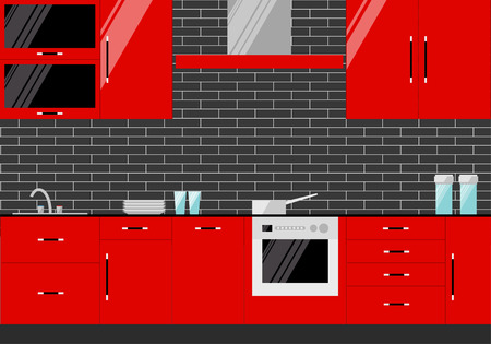 bright illustration in trendy flat style with red kitchen interior on dark cover for use in design Vector