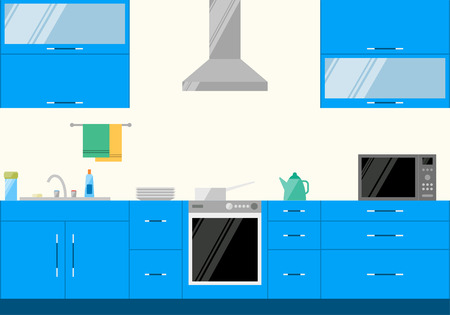 cartoon house: bright illustration in trendy flat style with blue kitchen interior for use in design