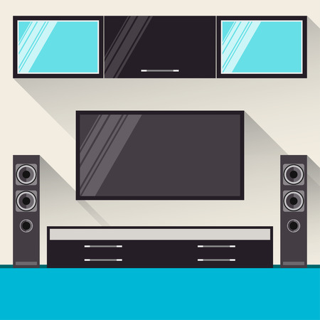 bright illustration in trendy flat style with long shadows with room interior with home television set and speakers for use in design Vector
