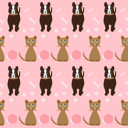 nursling: funny cartoon seamless dog and cat pattern on the bright pink cover with traces of paws