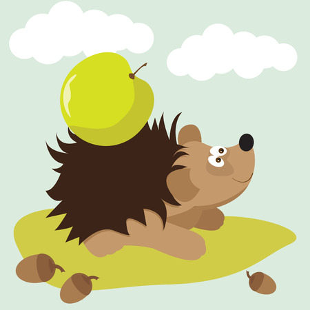 funny cartoon cute hedgehog with apple background for use in design for card, invitation, poster, banner, placard or billboard cover Vector