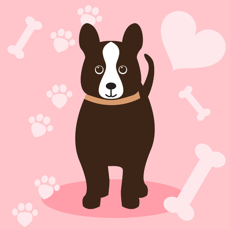 nursling: funny cute little dog isolated on pink background for use in design Illustration