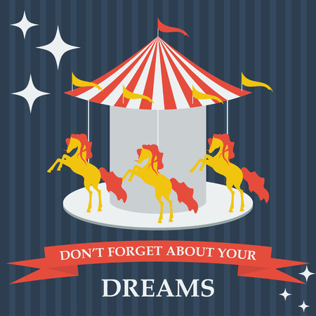 runner up: illustration in trendy flat style with cartoon horses on dreams carousel for use in design for card, invitation, poster, banner, placard or billboard cover