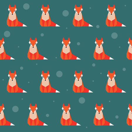 resourceful: bright colored abstract geometric cartoon fox seamless pattern background