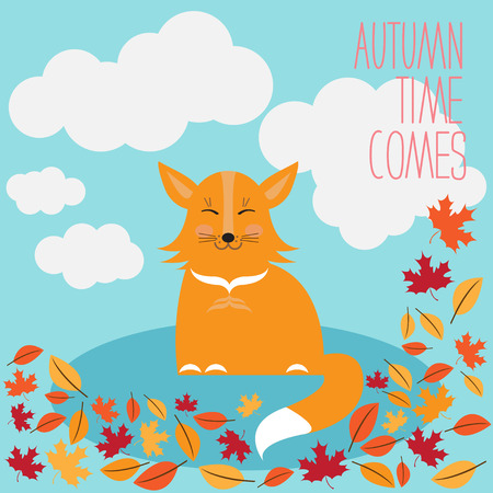 contented: funny cartoon cute little fox and autumn leaves for use in design for card, invitation, poster, banner, placard or billboard cover Illustration