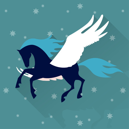 Pegasus horse bright colored background in trendy flat style with ling shadow