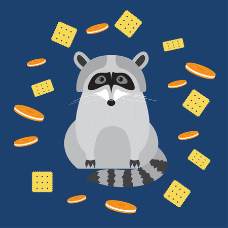 stealer: funny cartoon cute raccoon and cookie isolated on dark blue cover Illustration