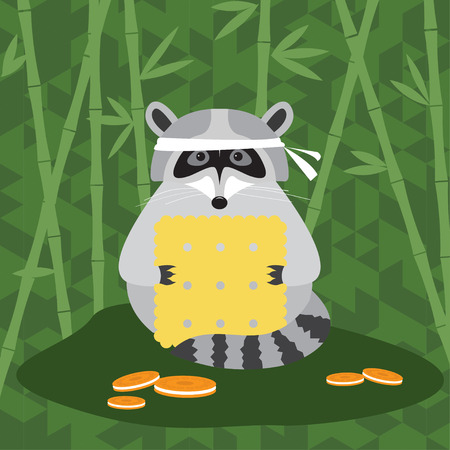 stealer: funny cartoon cute raccoon and cookie background for use in design Illustration
