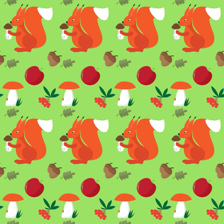 ash berry: Bright colored cartoon red squirrel with mushroom seamless pattern background for use in design Illustration