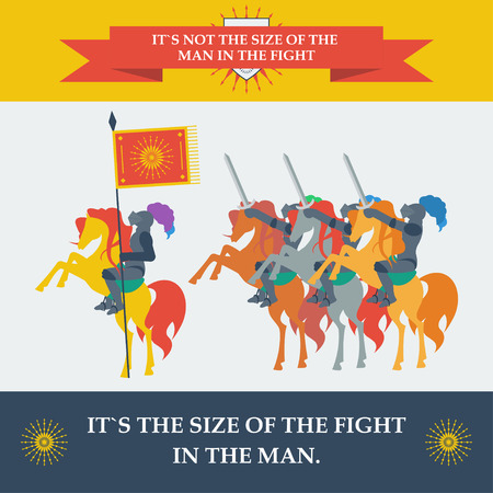chivalry: brave knights in trendy flat style for use in design for card, invitation, poster, banner, placard or billboard cover