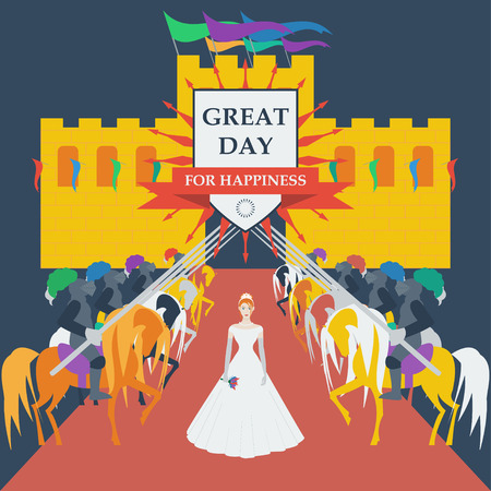 chivalry: knights and bride princess in trendy flat style for use in design for card, invitation, poster, banner, placard or billboard cover