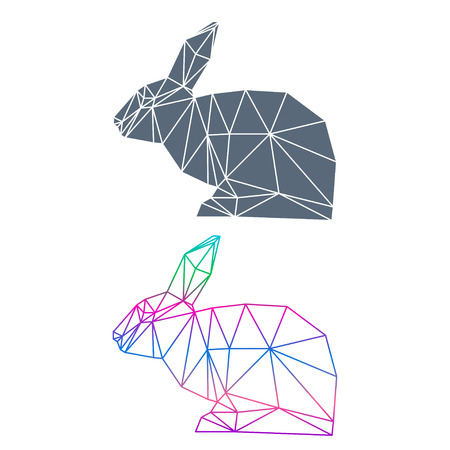 coward: Abstract geometric rabbit set isolated on white background for use in design for card, invitation, poster, banner, placard or billboard cover
