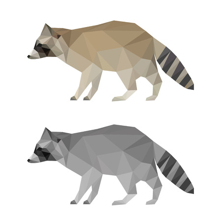 Abstract polygonal geometric triangle raccoon set isolated on white background for use in design for card, invitation, poster, banner, placard or billboard cover Illustration