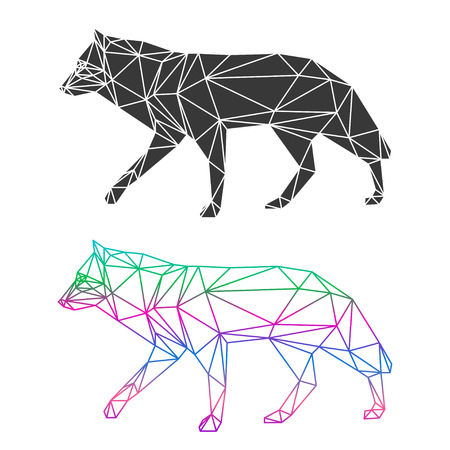 카드, 초대장, 포스터, 배너, 플래 카드 또는 빌보드 표지 디자인에 사용하기 위해 흰색 배경에 고립 된 추상 형상 늑대 세트 일러스트
