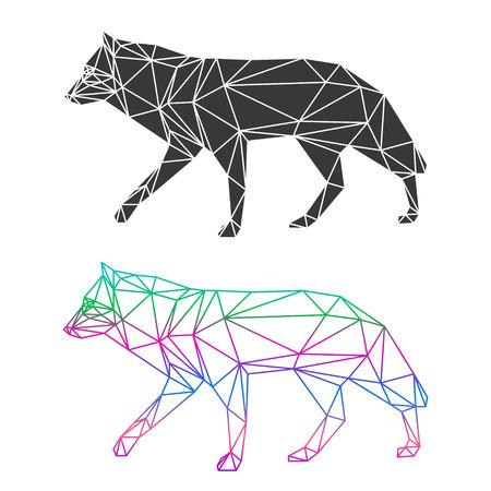 lobo: Conjunto lobo geom�trico abstracto aislado sobre fondo blanco para su uso en dise�o de la tarjeta, invitaci�n, cartel, pancarta, cartel o portada cartelera Vectores