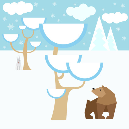 assumed: winter vector background with animals and snow forest for use in design for card, invitation, poster, banner, placard or billboard cover