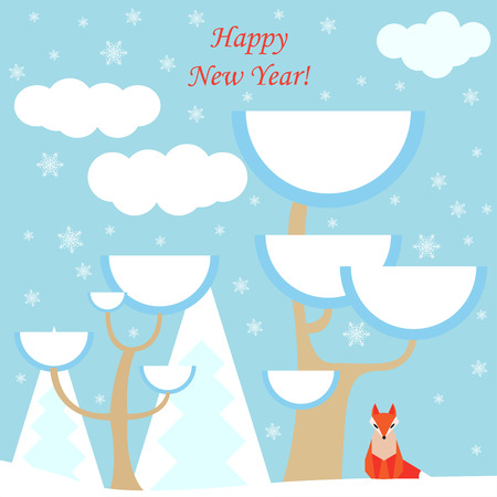 assumed: winter holiday vector background with ginger fox and forest for use in design for card, invitation, poster, banner, placard or billboard cover
