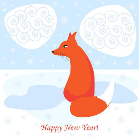 assumed: winter holiday vector background with bright ginger cartoon fox for use in design for card, invitation, poster, banner, placard or billboard cover Illustration