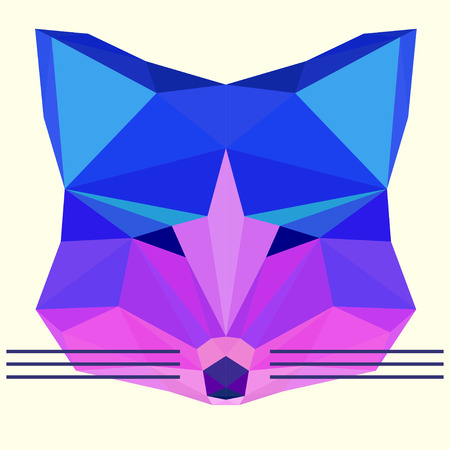 Bright colored polygonal geometric fox background for use in design for card, invitation, poster, banner, placard or billboard cover Illustration