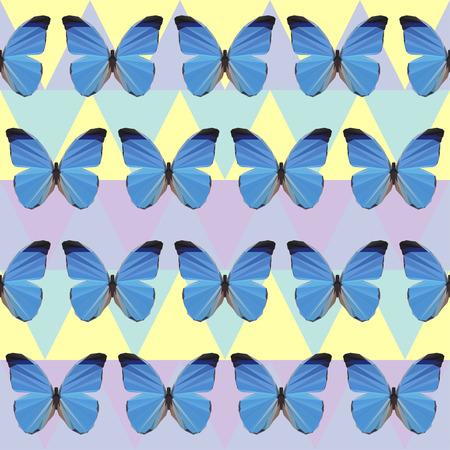 vector polygonal butterfly seamless pattern background Illustration