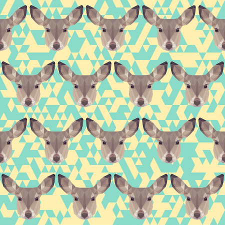 timorous: abstract geometric polygonal deer seamless pattern background