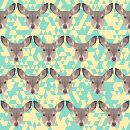fell: abstract geometric polygonal deer seamless pattern background