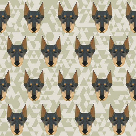 Doberman polygonal seamless pattern background Illustration