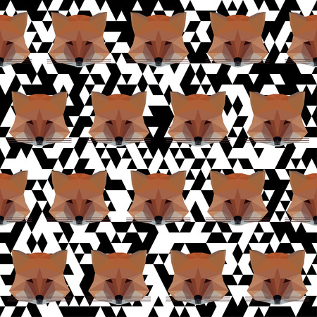Polygonal abstract geometric vector fox seamless pattern background