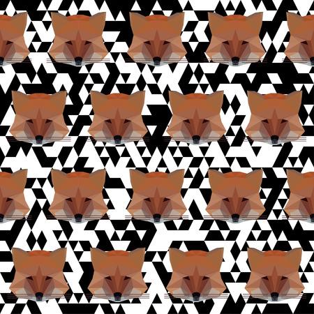 slink: Polygonal abstract geometric vector fox seamless pattern background