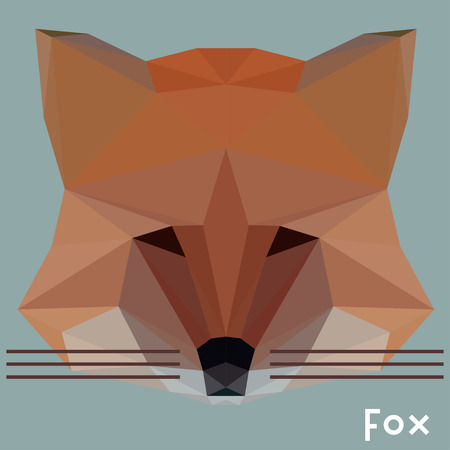 deftness: Polygonal geometric abstract triangle  vector fox background for use in design for card, invitation, poster, banner, placard or billboard cover