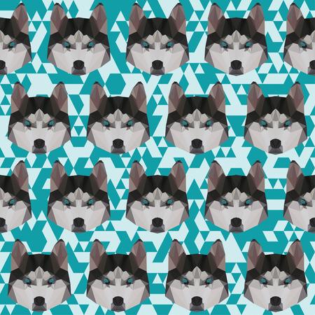 trusty: Abstract triangle polygonal husky seamless pattern background Illustration