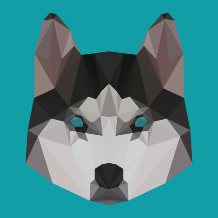 trusty: Abstract triangle vector geometric polygonal husky background for use in design for card, invitation, poster, banner, placard or billboard cover