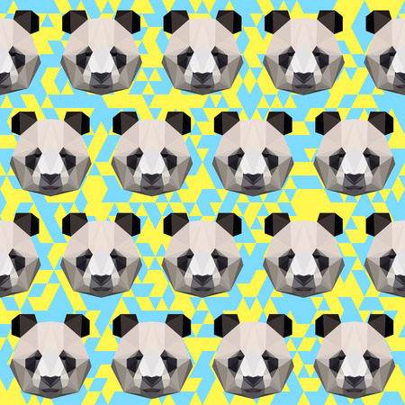 Polygonal panda seamless pattern vector background Vector