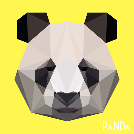 Polygonal geometric vector panda background for use in design for card, invitation, poster, banner, placard or billboard cover