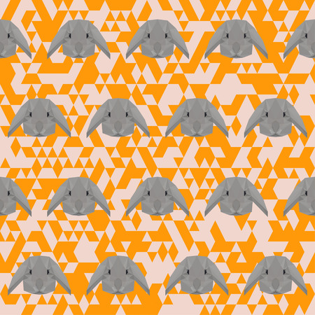 coward: Polygonal abstract rabbit seamless pattern vector background Illustration