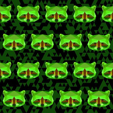 bright colored geometric polygonal raccoon seamless pattern background