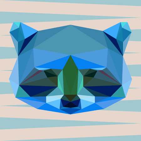 abstract geometric polygonal raccoon vector background for use in design for card, invitation, poster, banner, placard or billboard cover Illustration