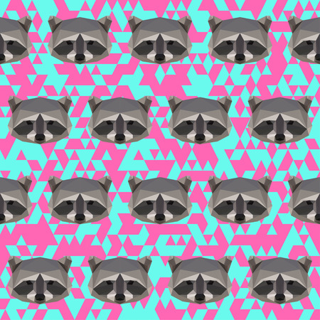 grabber: Polygonal raccoon seamless pattern background