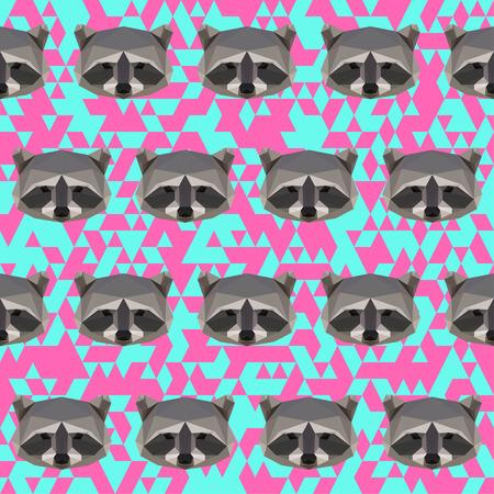 Polygonal raccoon seamless pattern background